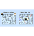 Maze Game for 2015 New Year Help Two Sheep to Find vector image vector image