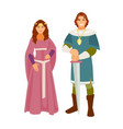 medieval costumes vector image vector image