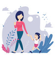 mother and son walk hand in hand vector image