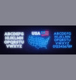 neon map of the usa on brick wall background vector image