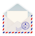 open international mail envelope with new york vector image vector image