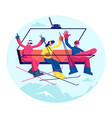 people at ski resort holidays skiers and vector image