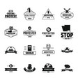 protest logo icons set simple style vector image vector image