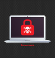 ransomware ransom ware on a laptop flat icon vector image