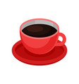 red cup of fresh black coffee tasty morning vector image