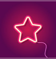 red neon star on purple background vector image vector image