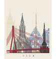 Riga skyline poster vector image vector image