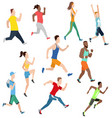 running man and women in flat design style vector image vector image