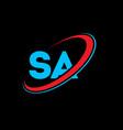 sa s a letter logo design initial letter sa vector image vector image
