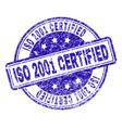 scratched textured iso 2001 certified stamp seal vector image vector image
