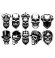 set of different skulls vector image