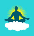 silhouette of a man figure meditating vector image