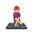 smiling dj mixing music on vinyl turntables young vector image vector image