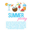 summer party flat poster vector image vector image