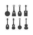 ukulele silhouette set vector image