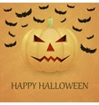 Vintage Halloween background with pumpkin vector image