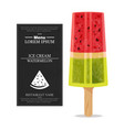 watermelon ice cream realistic product vector image vector image