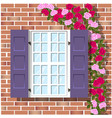 window on brick wall background vector image vector image