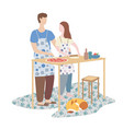 woman and man cooking pizza together family vector image vector image
