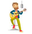 woman singing in microphone and playing guitar vector image vector image