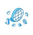 world blue line isometric global vector image