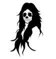 long hair skull queen ugly face like satan vector image