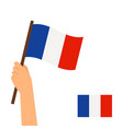 hand holding flag of france vector image