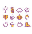 cute linear autumn icons set vector image