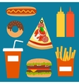 Fast food background concept vector image
