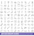 100 excursion icons set outline style vector image vector image