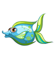 A big blue fish with a stripe-colored tail vector image vector image
