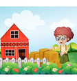 A young boy standing near the hays in the farm vector image vector image