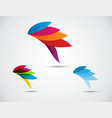 abstract symbol bird abstract icon on leaf vector image