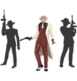 Asian mafioso godfather with crew silhouettes vector image vector image
