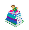 boy sitting at big pile of school books vector image vector image