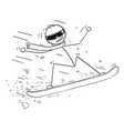 cartoon of man snowboarding on snowboard vector image