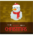 christmas card with snow man yellow background vector image vector image
