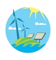 Clean resources Sun and wind energy generation vector image vector image