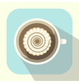 Coffee cup with whipped cream and caramel icon vector image
