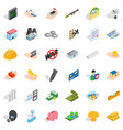 college icons set isometric style vector image vector image