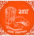 cowboy merry christmas with boots vector image vector image