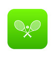crossed tennis rackets and ball icon digital green vector image vector image