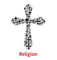 crucifix cross religion symbol icon vector image vector image