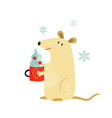 cute funny mouse for chinese new year vector image