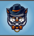 cute grey cat head animal with hat and mustache vector image vector image