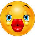 cute kissing emoticon vector image vector image