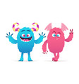 cute monsters cartoon boy and girl monsters vector image