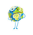 cute skeptical cartoon earth planet character with vector image vector image