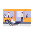 disabled girl in wheelchair at bus stop bus vector image vector image