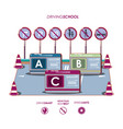 driving school set icons vector image vector image